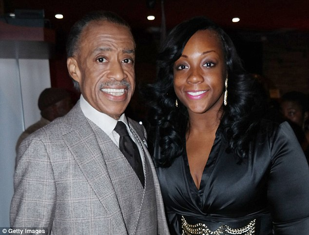Dominique Sharpton (with her father) demanded millions in compensation from the city after claiming she sprained her ankle on uneven sidewalk in 2014, suffering 'permanent pain and mental anguish'