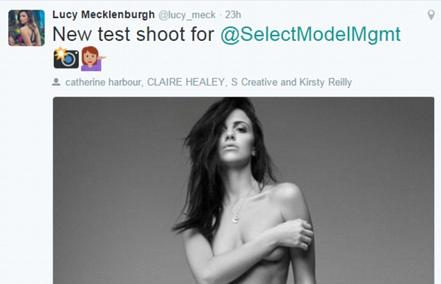 Thrilled:Sharing a preview of the images on Twitter, she wrote: 'New test shoot for Select Model Management'with two emojis - a camera and a posing model