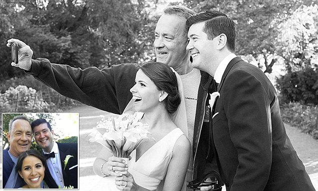 Tom Hanks photobombs bride and groom's wedding pics and they couldn't be happier