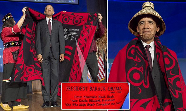 Obama presented with a traditional blanket and hat during his final White House Tribal