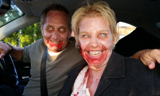 Fright of way: Police pull over two actors dressed as zombies after being called to