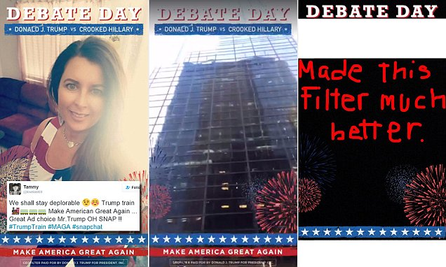Donald Trump takes to Snapchat in bid to reach millennials on debate day - to a rather