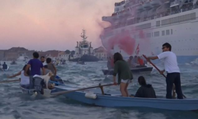 Venetians BLOCK cruise ships from docking city which is being 'destroyed by tourists'