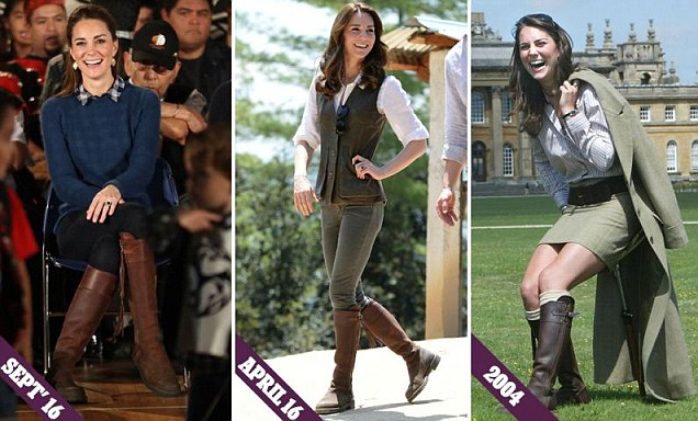 These boots are made for keeping! Kate wears the same trusty £475 knee-highs she's had for
