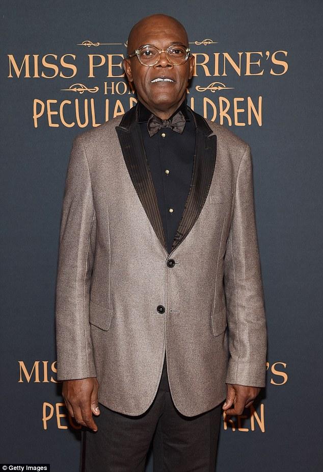 Dapper: Samuel L. Jackson rocked a grey tuxedo jacket