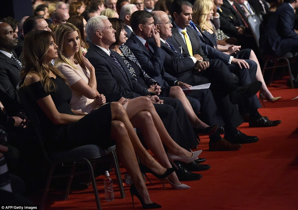 Ivanka fixed her hair and Melania sat legs crossed as the debate kicked off  at 9pm