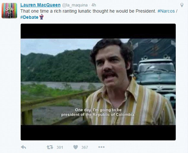 Lauren MacQueen posted an image from the hit Netflix show Narcos saying 'that one time a rich lunatic thought he would be President'