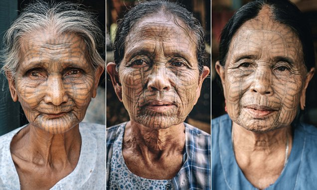 Images from Burma capture the last surviving women with elaborate tattoos on their face