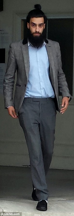 On trial: Teaching assistant Hamid Bhatti (pictured leaving court) is accused of having a fling with  a 15-year-old schoolgirl