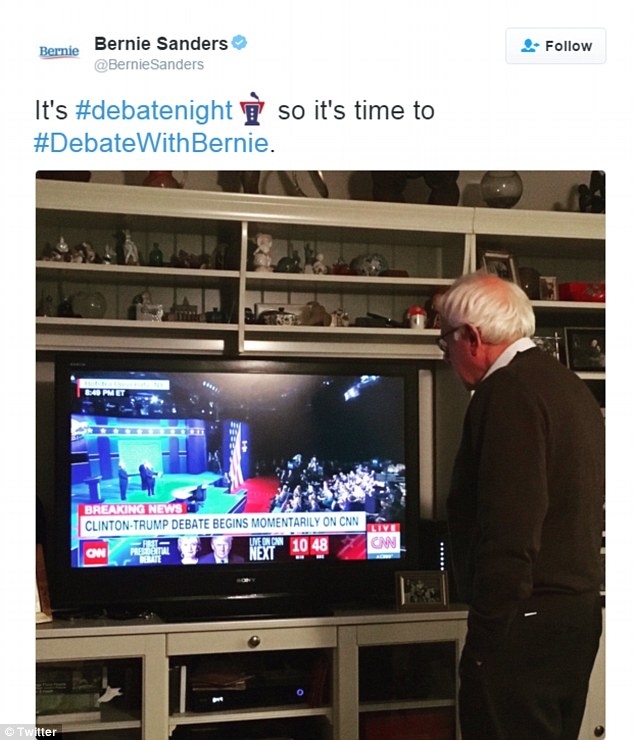 Former Democratic presidential hopeful Bernie Sanders tweeted this photo of himself watching the debate