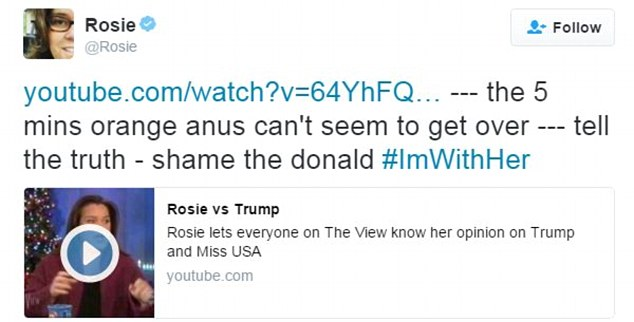 After the debate on Monday, O'Donnell tweeted calling Trump an 'orange anus' and said he can't seem to get over her five minute segment on The View from five years ago
